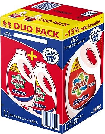 Detergente Ariel Basico Líquido 110d, Caja con 2 botellas: Amazon ...