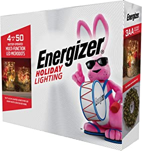Energizer 4x50 Battery Operated Warm White LED 8-Function Microdots