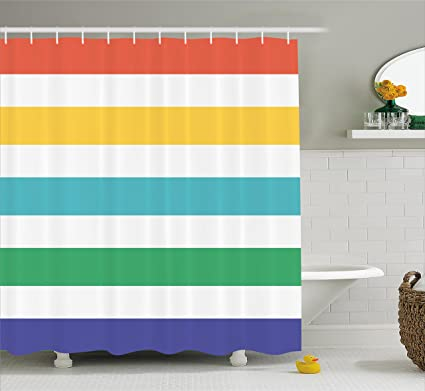 Ambesonne Striped Shower Curtain Set Rainbow Colored And White Fun Horizontal Lines Kids Room Red