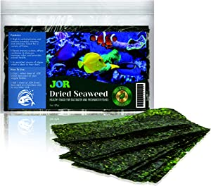JOR Seaweed Fish Super Snack, Loved by Tangs, Angels, Bettas, Plecos, Hermit Crabs, and Snails, Dense in Vitamins, Beneficial Food Treat Supplement, 1 oz.