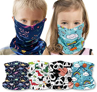 10 Pieces Kids Summer Face Cover Neck Gaiter UV Protection Face Bandana Colorful Printed Balaclava Headwear for Boys Girls