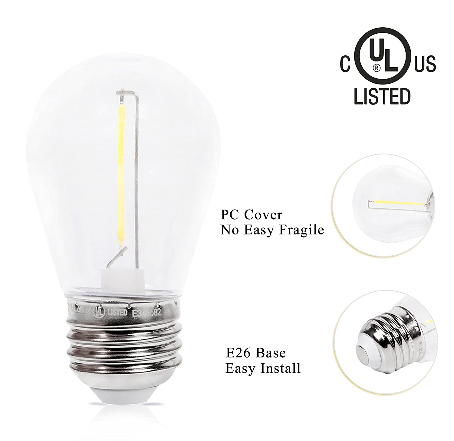 S14-1W-ND-G-8P 8 Pack UL Listed Non-Dimmable 1W Green Colored Decorative Bulbs of String Light Strands E26 Base Without String Strands and Sockets EFFOE S14 LED Bulbs