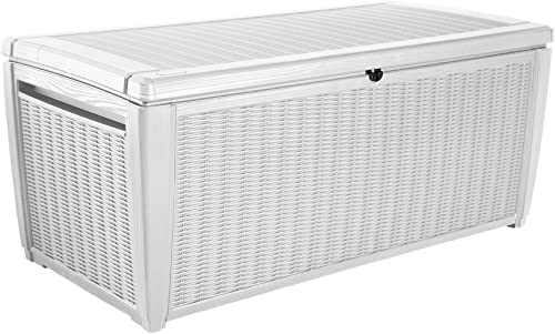 Keter Sumatra 135 Gallon Resin Rattan Look Outdoor Deck Box for Patio Furniture Cushions, Garden Tools, Toys, and Pool Storage, White