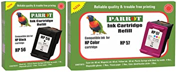 Parrot Ink Cartridge Refill for HP 56 Black and HP 57 Color, Combo Inks, Toners   Cartridges