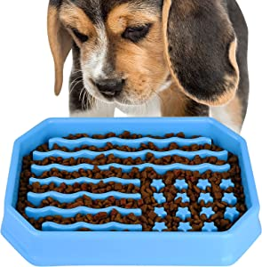ROFTEK feeder dog bowl, interesting slow feeding interactive extended extension stop puzzle dog bowl, healthy diet weight loss pet dog slow feeding bowl, anti-swallowing dog bowl, pet bowl Slow feeder