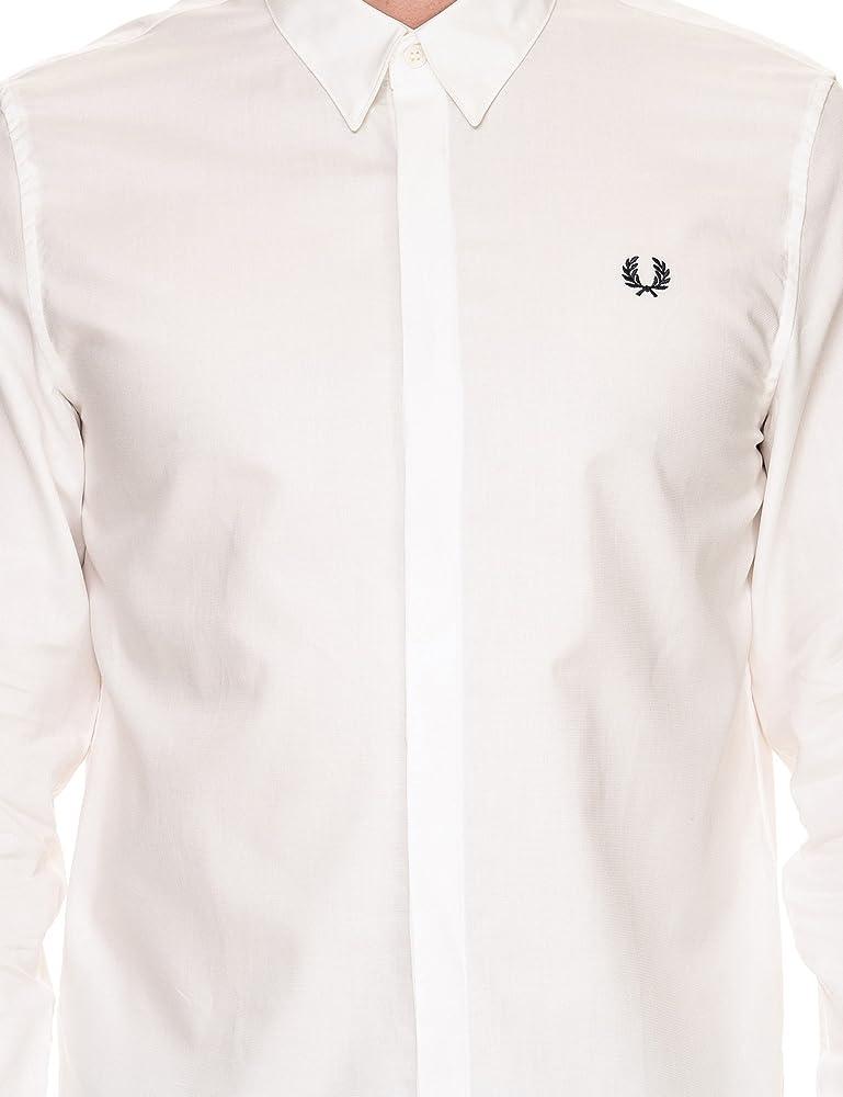 Fred Perry hombre camisa de manga larga M3535 129 2XL Bianco ...