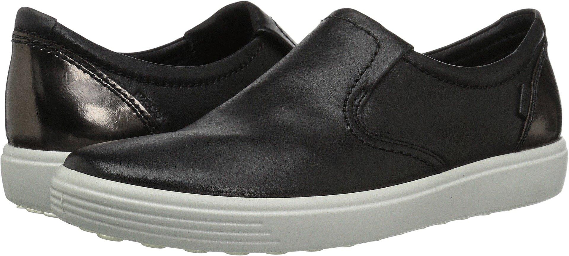 ECCO Women's Women's Soft 7 Slip on Fashion Sneaker, Black/Black/Dark Clay, 38 EU/7-7.5 M US
