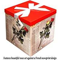 "Gift Box 10""X10""X10"" - Les Roses Collection - Easy to Assemble & Reusable - No Glue Required - Ribbon, Tissue Paper, and Gift Tag Included - EZ Gift Box by Endless Art US"