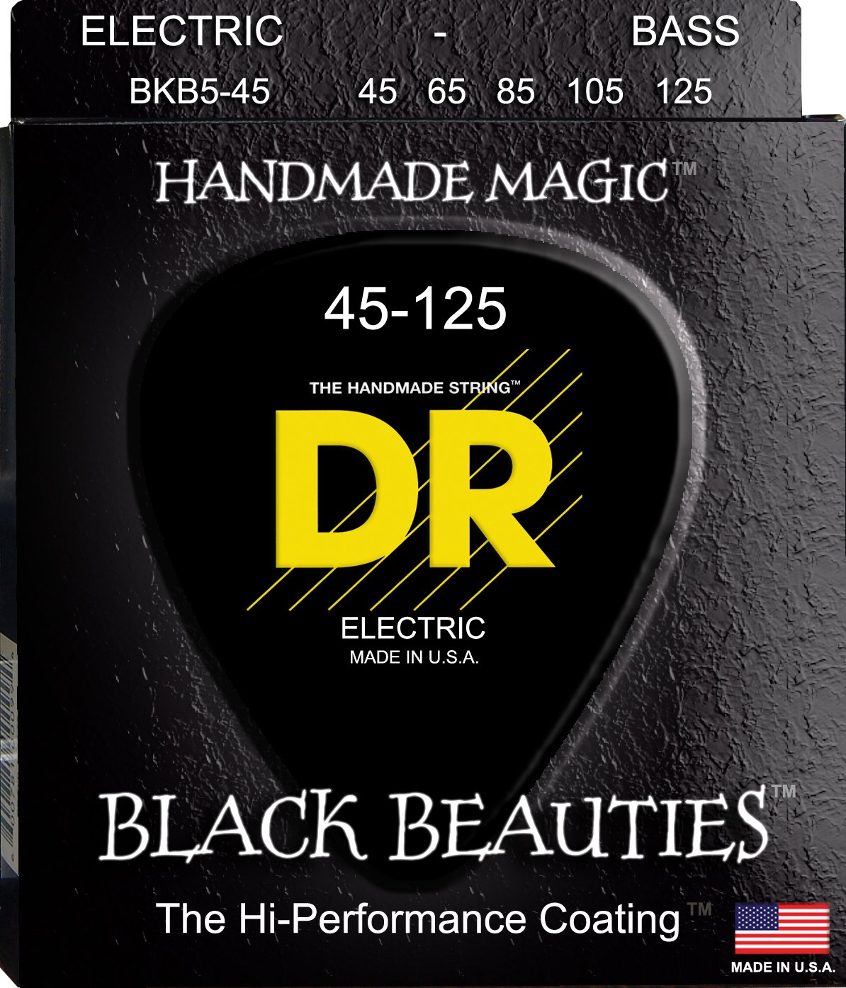DR Strings Bass Strings, Black Beauties BASS Black Coated Nickel Plated Bass Guitar Strings on Round Core DR Music BKB5-45