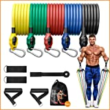 DMYCO Resistance Bands Set for Men & Women, 150 Lbs Portable Workout Bands with Door Anchor, Handles, Waterproof Carry Bag an