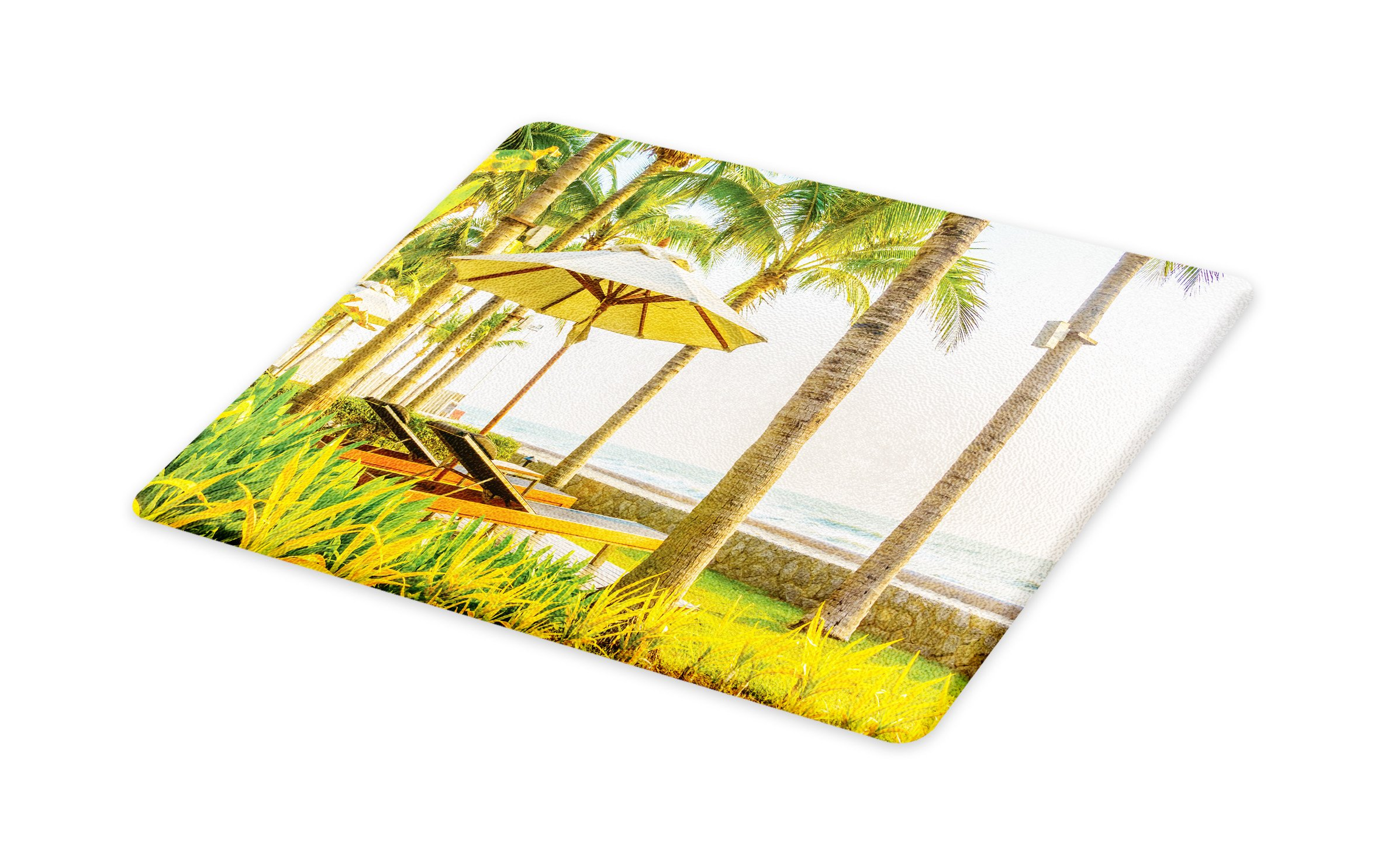 Lunarable Seaside Cutting Board, Palm Trees Umbrella and Chairs Around Swimming Pool in Hotel Resort Image, Decorative Tempered Glass Cutting and Serving Board, Small Size, Yellow Green and Tan