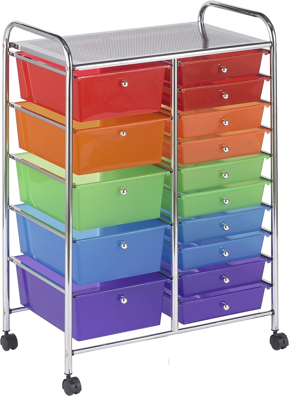 ECR4Kids 15-Drawer Mobile Organizer, Assorted Colors