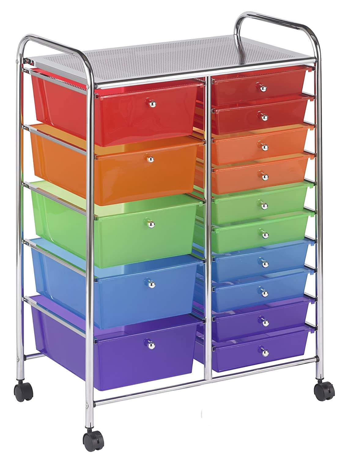 stylish rolling organizer with colored drawers