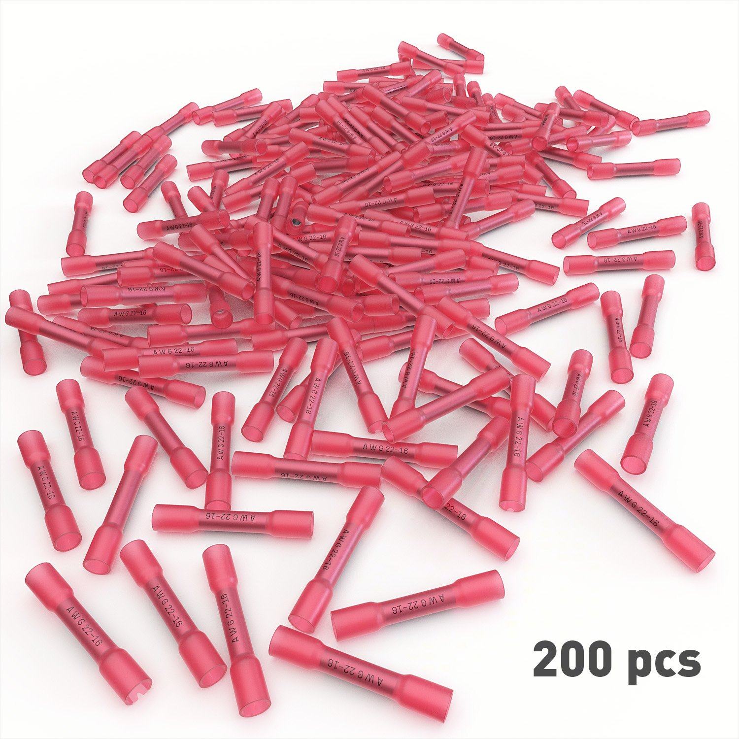 Audio Marine and Industrial Grade Hot Melt Adhesive Butt Splice E-VOLT EV200BC Insulated AWG Automotive 200 PC Red Heat Shrink Butt Crimp Connectors: 22 20 18 16 Gauge Bulk Waterproof Electrical Terminals