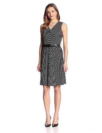 Jones New York Women's Sleeveless Stripe Belted Dress, Black/White, 4