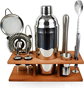 Bartender Kit Silver 11 Piece - Chrome Parisian Cocktail Mixology Set - Stainless Steel Shaker With Muddler, Pourers, Strainer & Twisted Bar Spoon