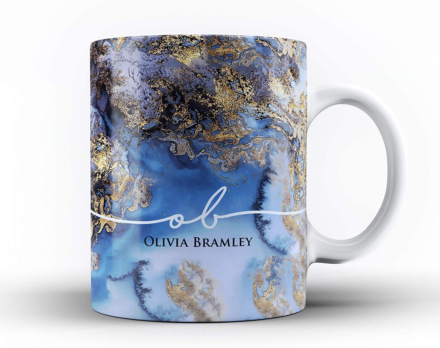 Studio RB Personalised Marble//Pattern Mug Colourful Marble with Name /& Initials 1