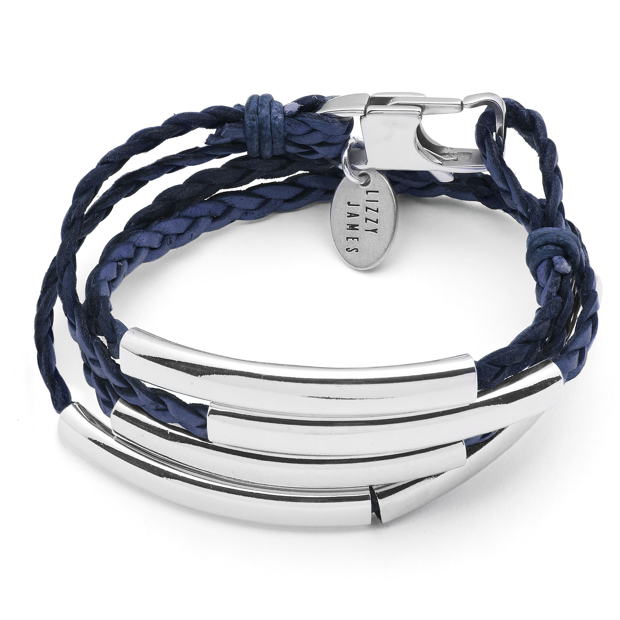Lizzy James Mini Addison Wrap Bracelet Silverplate in Natural Pacific Dark Blue Braided Leather (Medium)