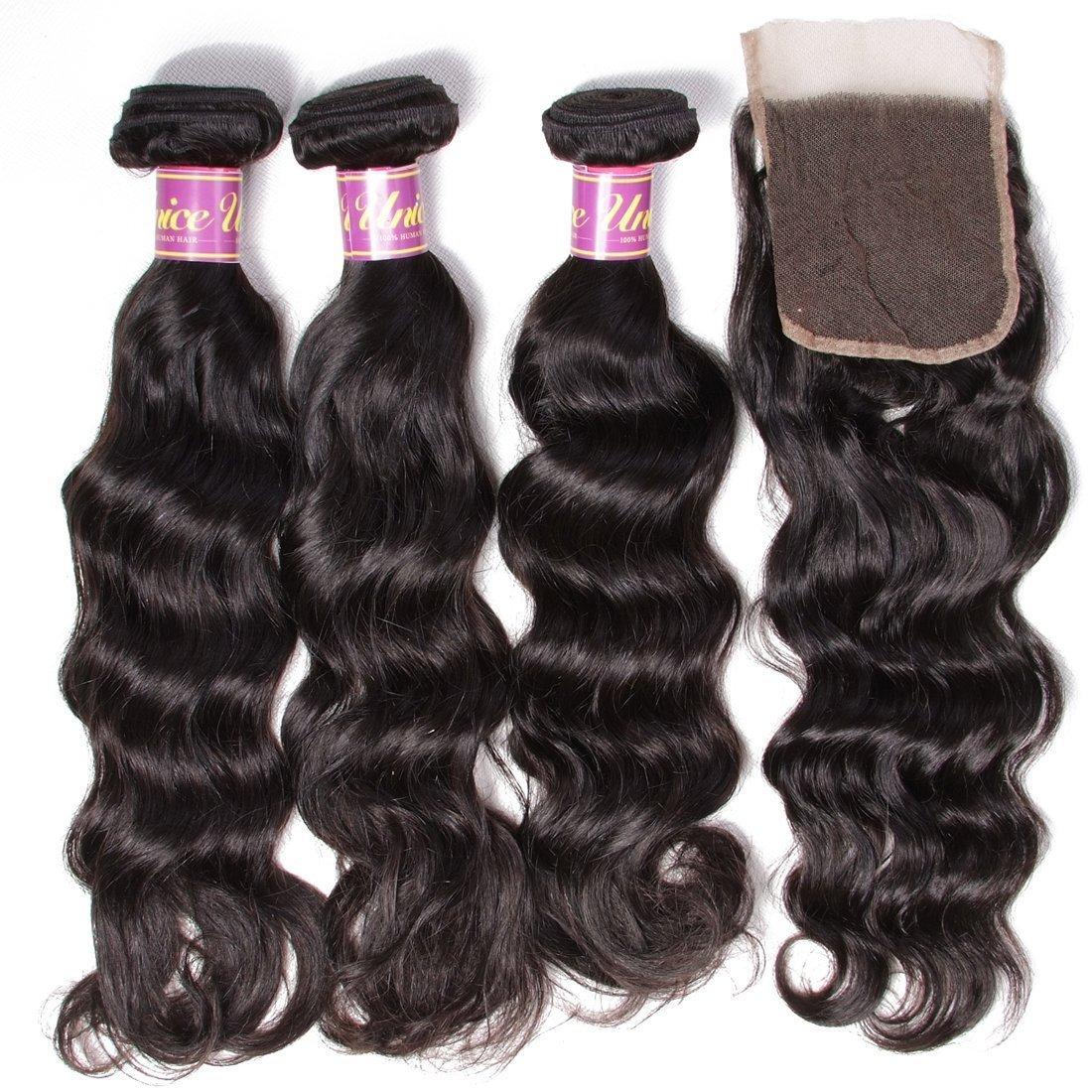 Unice 7A Grade Brazilian Natural Wave Hair 100% Virgin Human Hair 3 Bundles with Closure Natural Color (20 22 24+18Free Closure) by UNICE (Image #5)