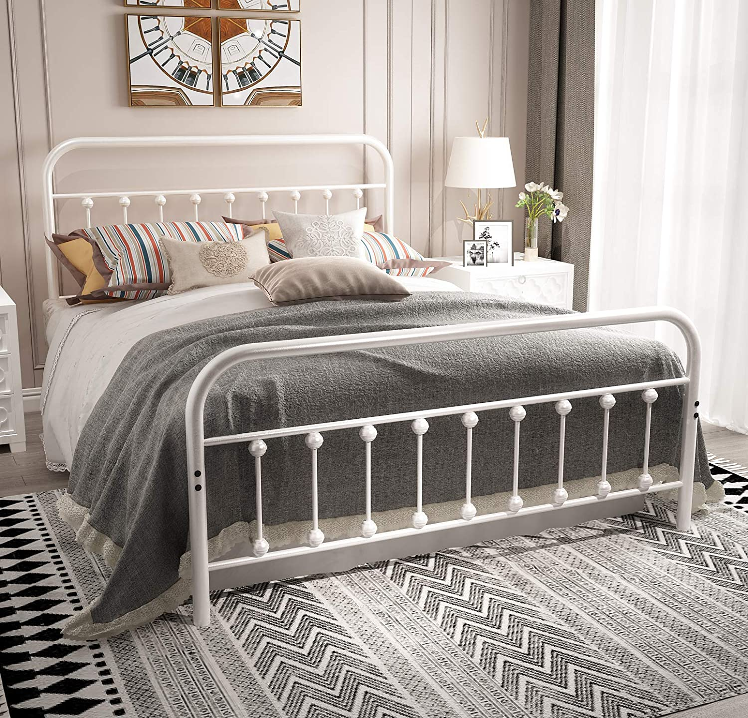 Queen Platform Metal Bed Frame with Headboard and Footboard,Vintage Victorian Style Mattress Foundation, No Box Spring Required, Under Bed Storage, Grayish White.