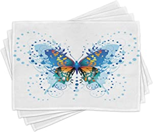 Ambesonne Swallowtail Butterfly Place Mats Set of 4, Animal with Twigs Curls and Dots Abstract Art, Washable Fabric Placemats for Dining Room Kitchen Table Decor, Blue White