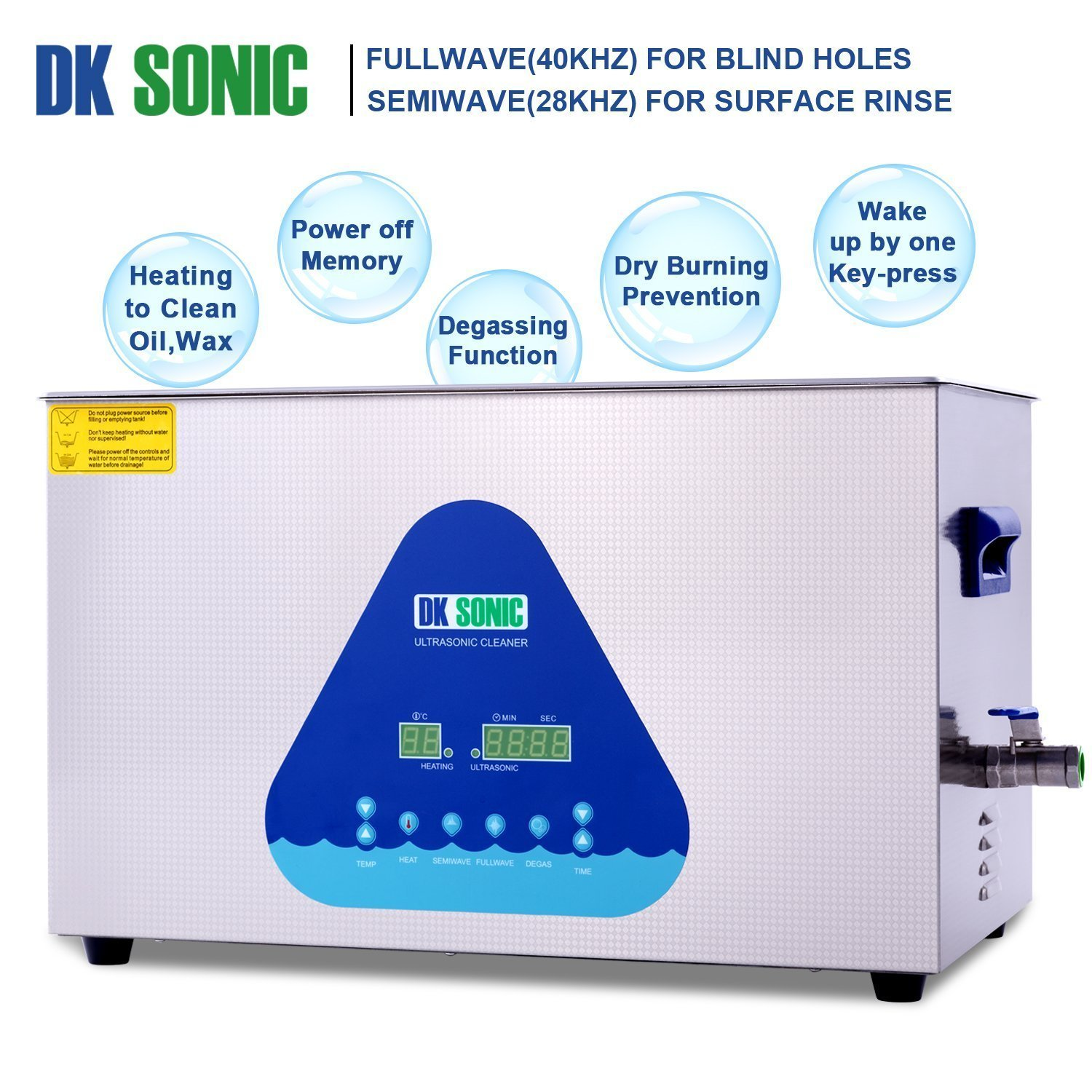 Lab Digital Ultrasonic Carburetor Cleaner Heated - DK SONIC 22L 480W Ultrasonic Gun Cleaner for Parts Jewelry Brass Eyeglass Ring Fuel Injector Glasses Record Diamond Circuit Board 28/40KHz by DK SONIC (Image #3)