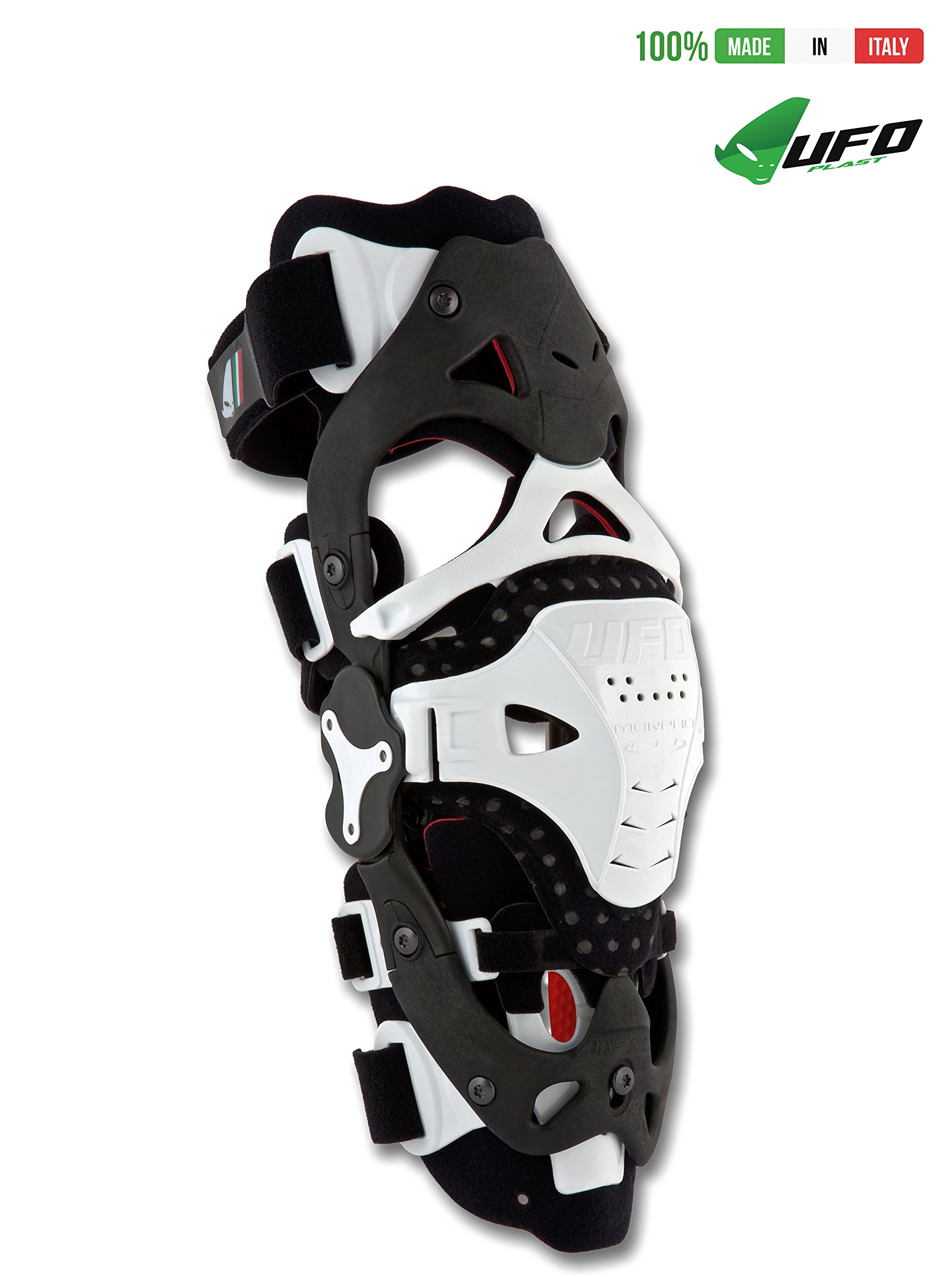 UFO PLAST Made in Italy KB001 MORPHO FIT - LEFT SIDE Jointed Brace for Knee Protection in Sport / Patella Protection / Motorcycle, Motocross, Snowboard, Skateboard, Ski - L/XL / Color: White
