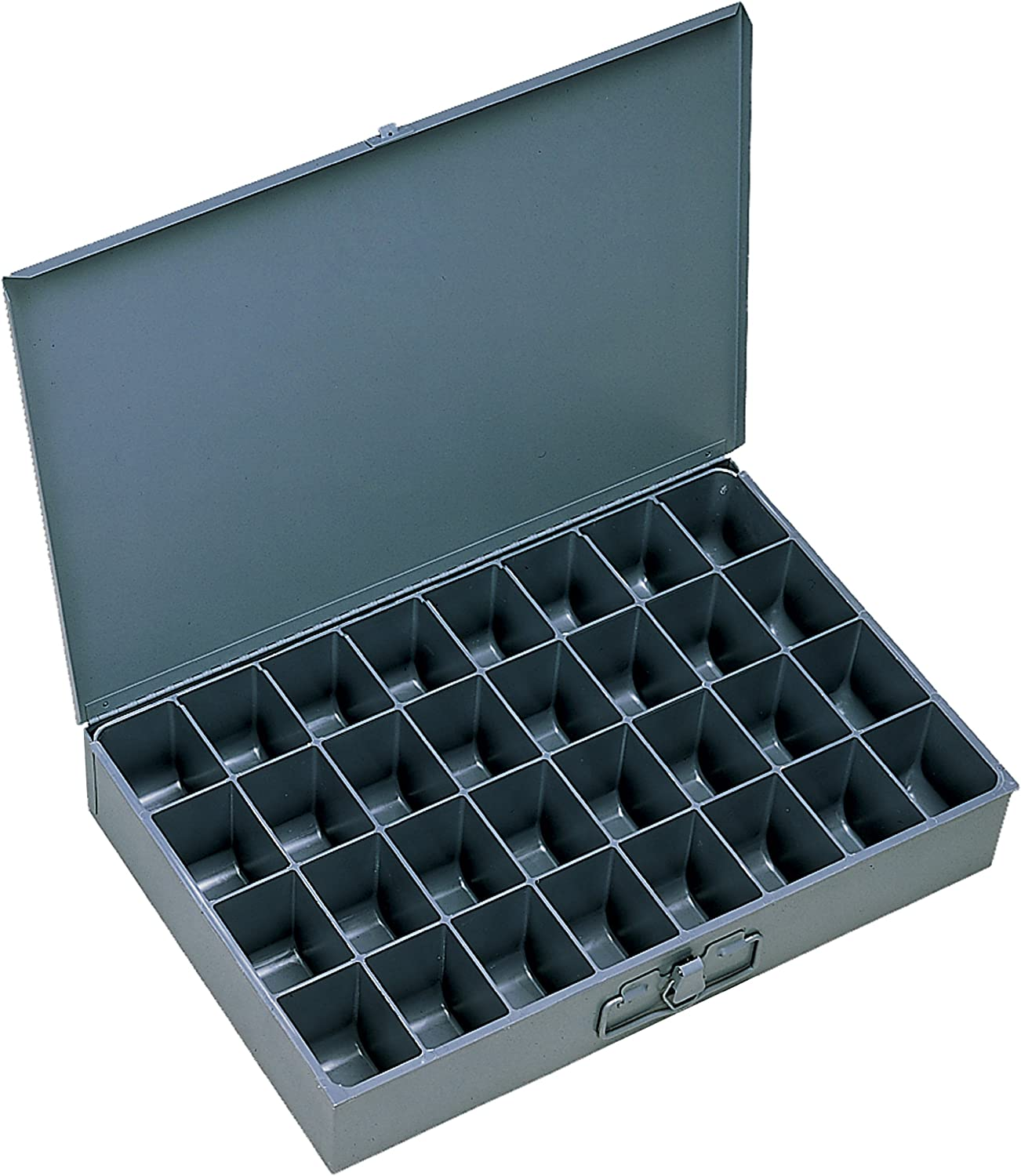 """Durham 107-95-IND Gray Cold Rolled Steel Individual Large Scoop Box, 18"""" Width x 3"""" Height x 12"""" Depth, 32 Compartment"""