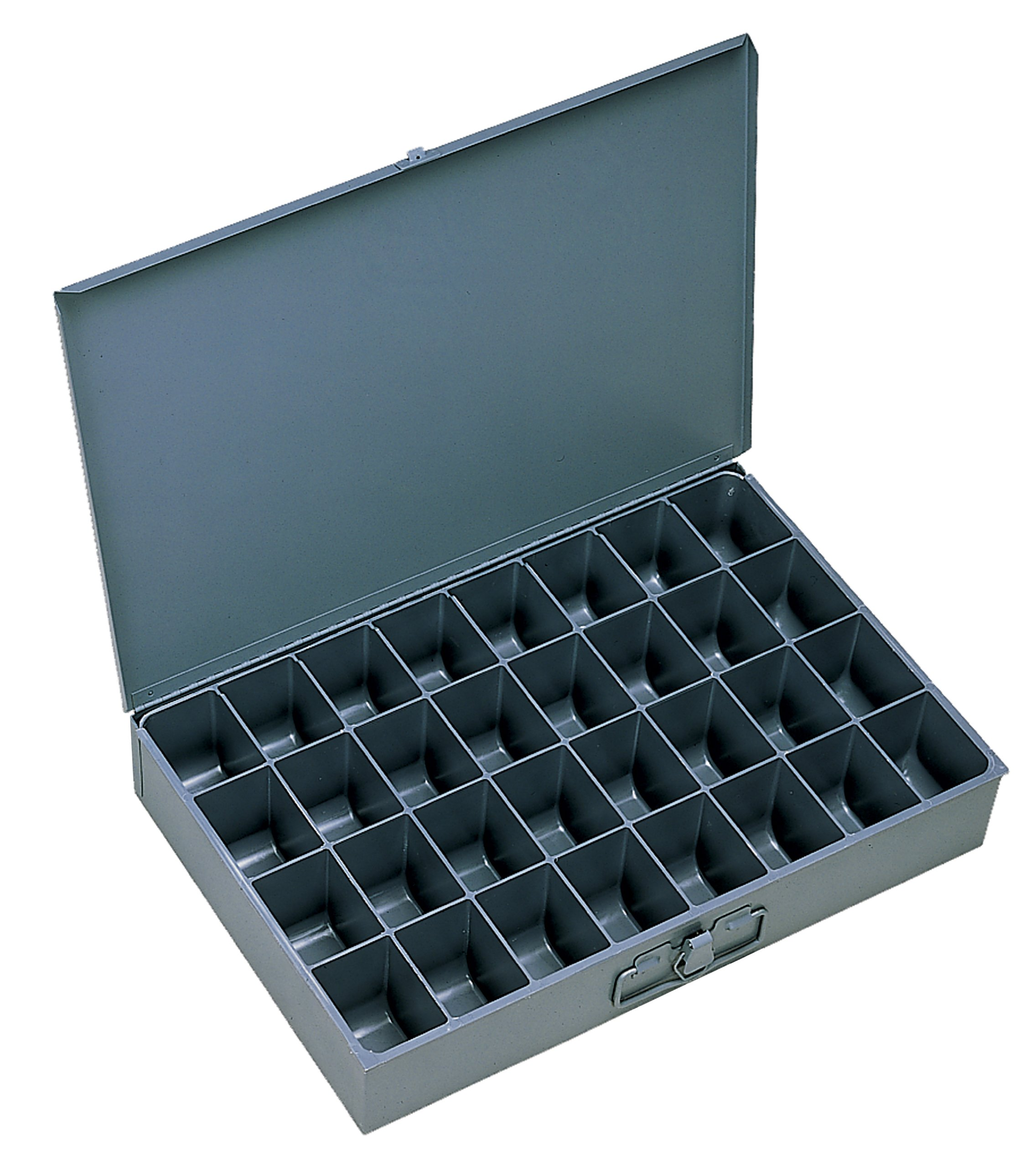 Durham 107-95-IND Gray Cold Rolled Steel Individual Large Scoop Box, 18'' Width x 3'' Height x 12'' Depth, 32 Compartment