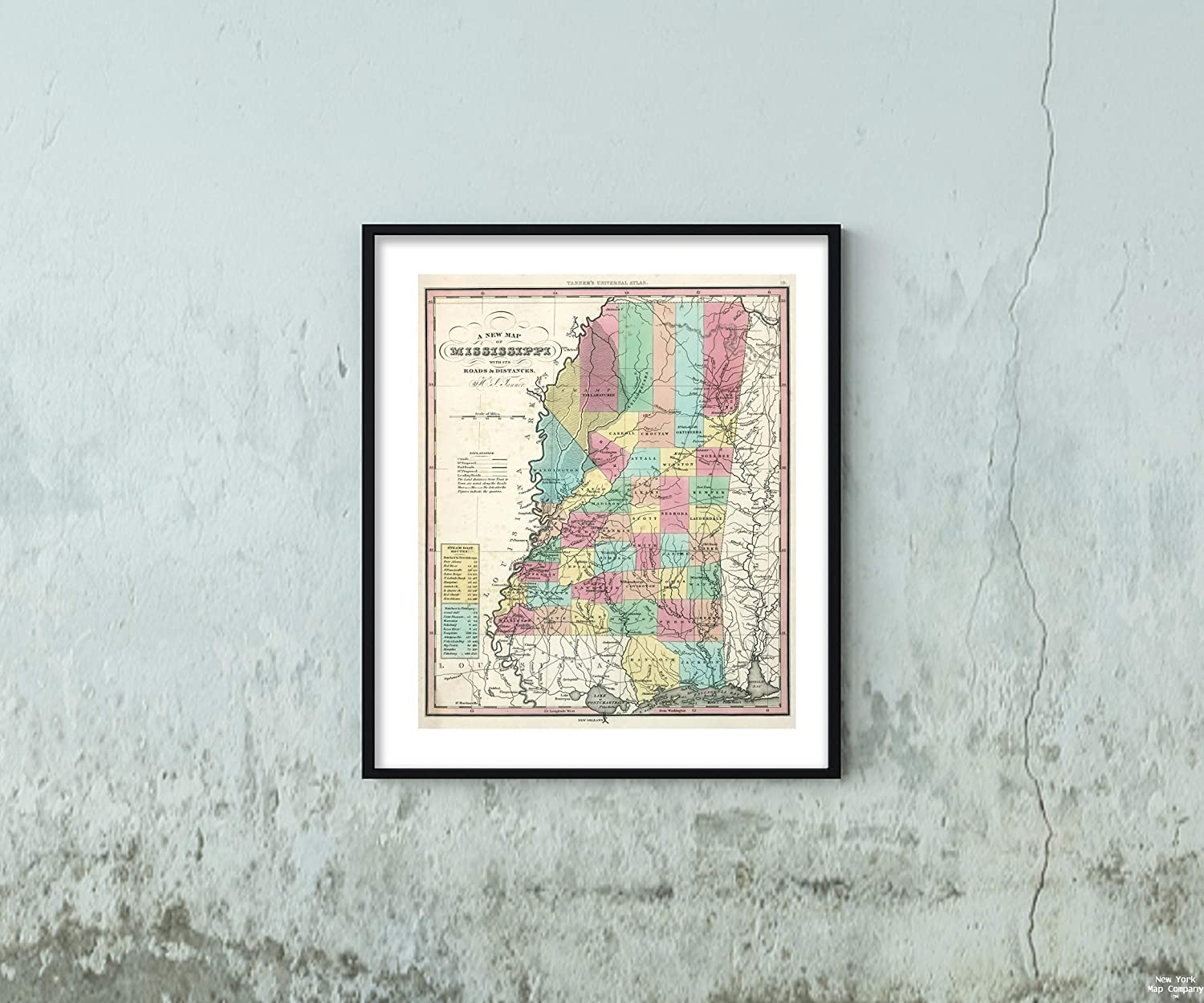 Map|World Atlas, Mississippi. 1834|Historic Antique Vintage Reprint|Size: 20x24|Ready to Frame