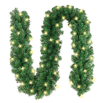 Christmas Garland with 40 LED Lights - Battery Powered Waterproof String  Light with Timer - Pre - Amazon.com: Christmas Garland With 40 LED Lights - Battery Powered