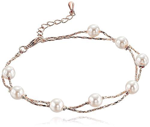 6e23bb31389bd Multi Strand Pearl Bracelet Set Pendant Necklace 18