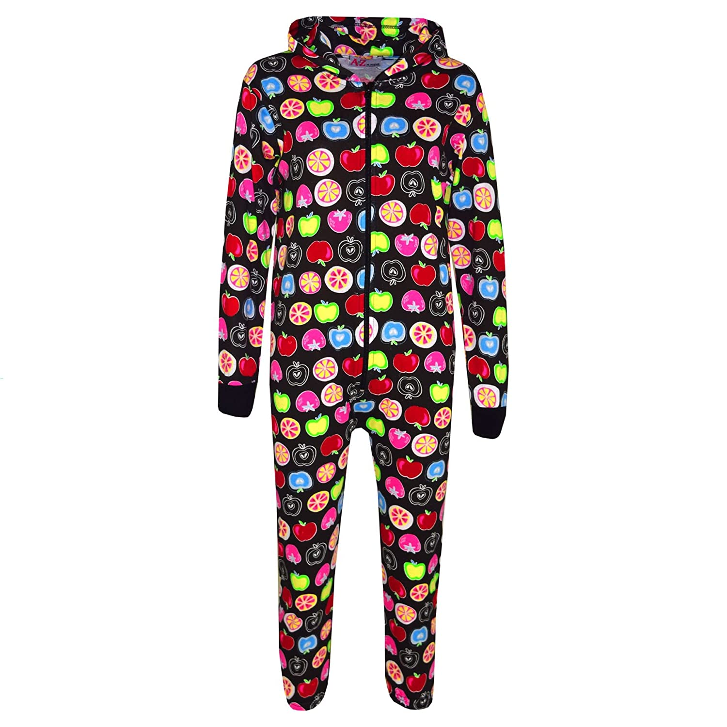A2Z 4 Kids® Kids Onesie Girls Boys Fruit Print Cotton Hooded A2Z Onesie One Piece All in One Jumpsuit New Age 2 3 4 5 6 7 8 9 10 11 12 13 Years