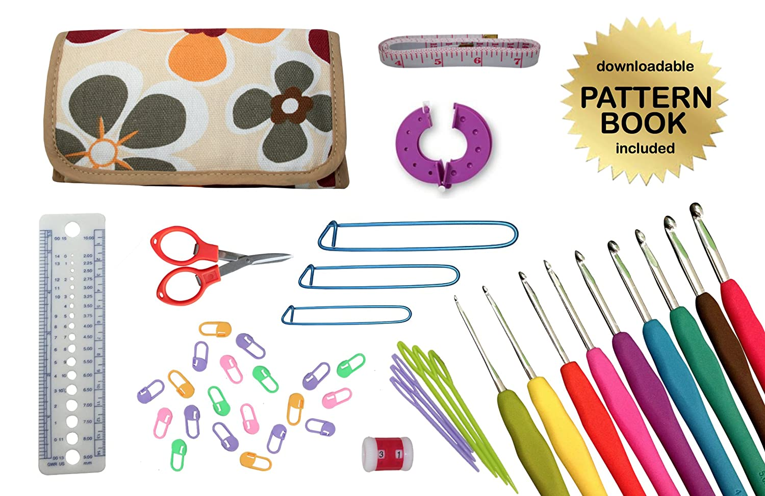 National Crochet Month SALE - Gold Medal Crafts' 44pc Ultimate Crochet Kit – Includes 9 Ergonomic Hooks and All Accessories Needed in Convenient Canvas Carrying Case [Floral Pattern - Ergonomic Hooks]