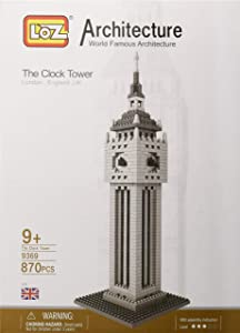 LOZ 9369 Micro Blocks, British Clock Tower Model, Small Building Block Set,(870 Pcs), Makes a Great Stocking Stuffer