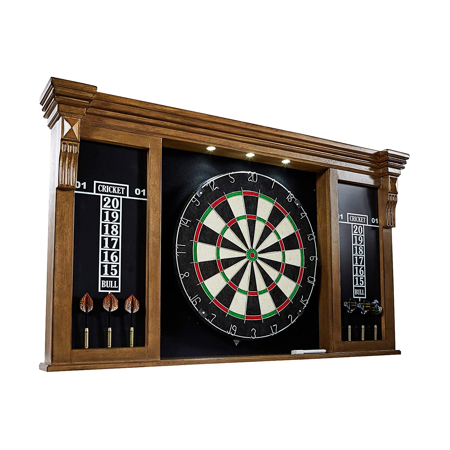 Barrington Collection Bristle Dartboard Cabinet Set: Professional Hanging Classic Sisal Dartboard with Self Healing Bristles and Accessories