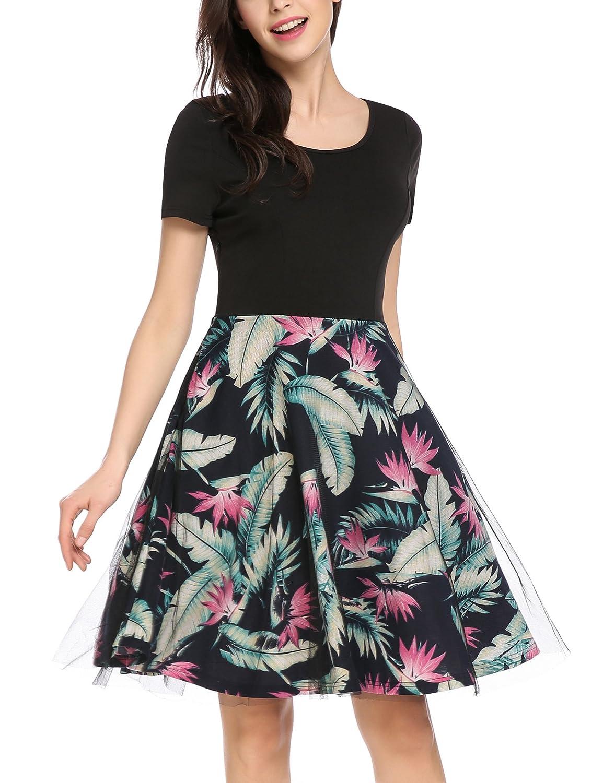 ACEVOG Damen Sommerkleider Knielang Kurzarm Rockabilly Kleid Skaterkleid Cocktailkleider Partykleid Petticoat