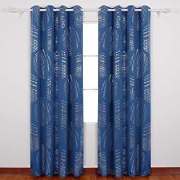 Deconovo Abstract Circle Print Curtains With Grommets Blackout Curtains  Thermal Insulated Curtains Room Darkening Curtains For