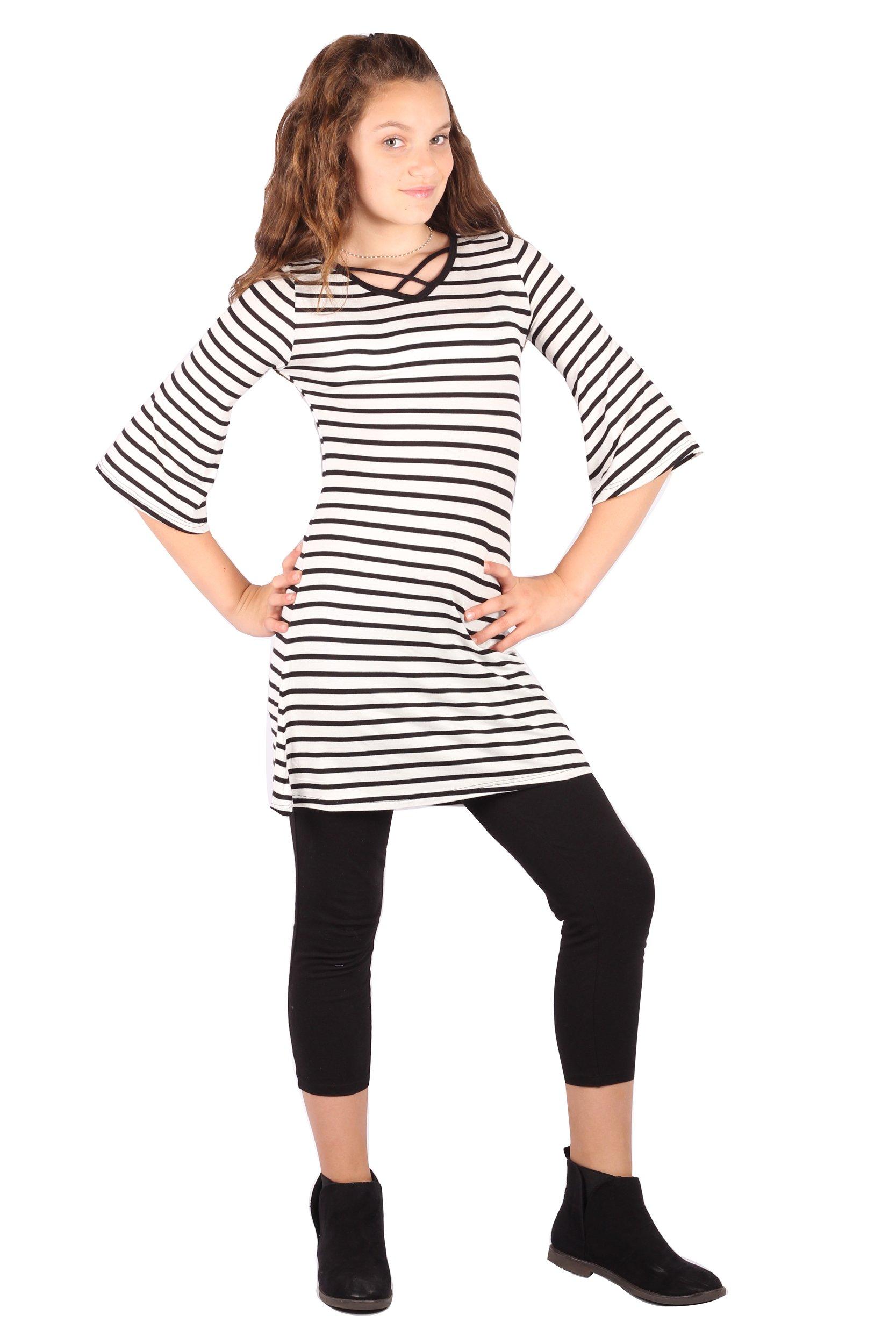 Lori&Jane Girl's Criss Cross Front Casual Loose Fit Tunic T-Shirt Dress (Black/White Small Stripes, 10/12)