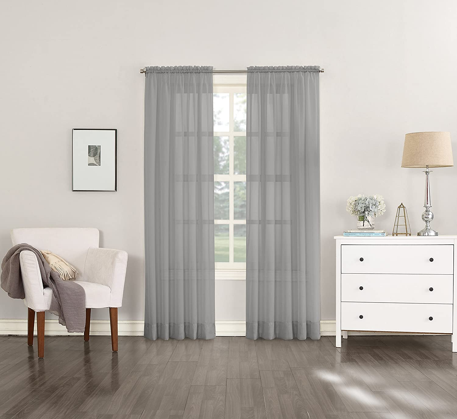 "Emily Sheer Voile Curtain Panel, 59"" x 84"", Charcoal Gray"