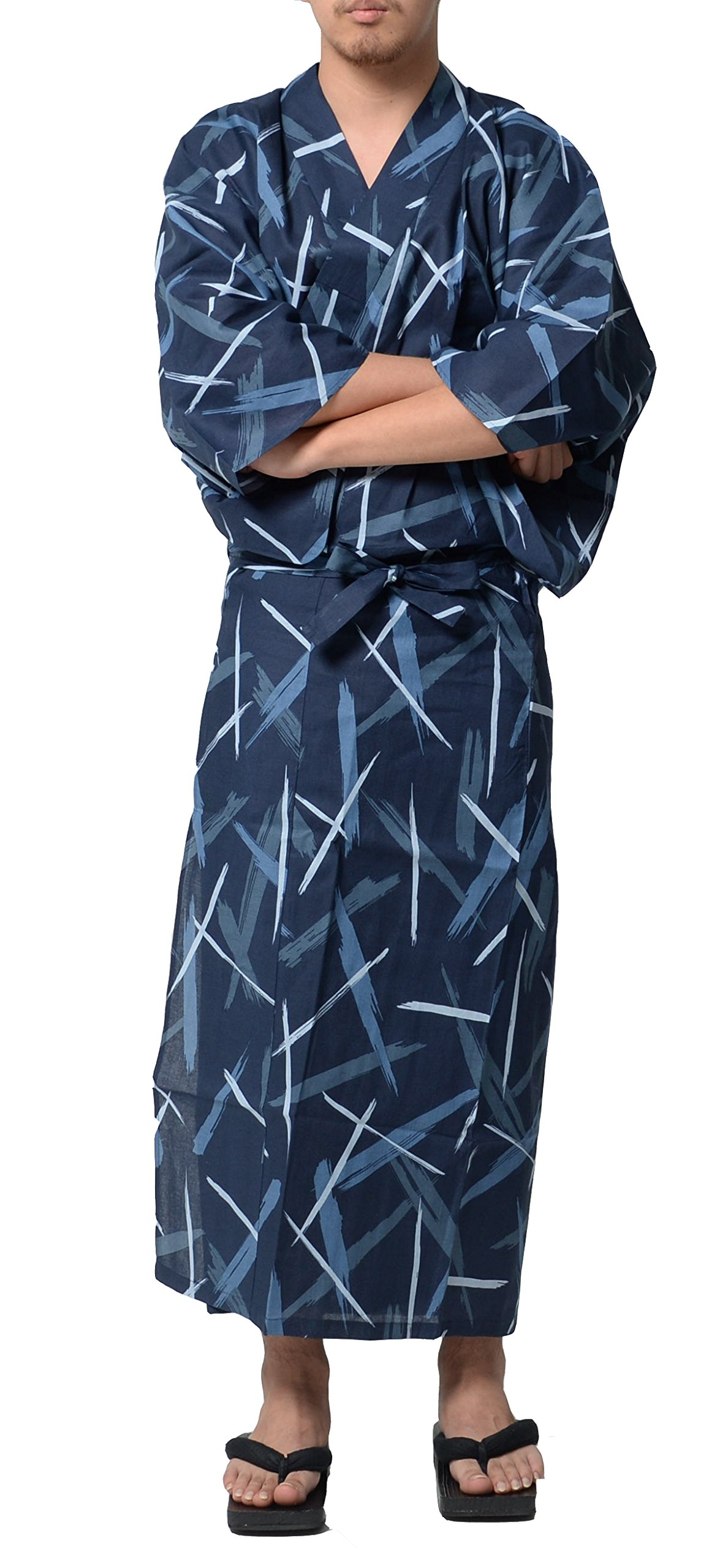 Wako Men's Traditional Easy Wearing Japan Cotton Yukata Robe(Japan Cotton ese Casual Kimono) Gentle Breeze X-Large Men