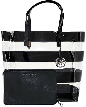 bfcd6ac1dc47 Michael Kors Eliza Striped Large Tote in Clear Black  Handbags ...