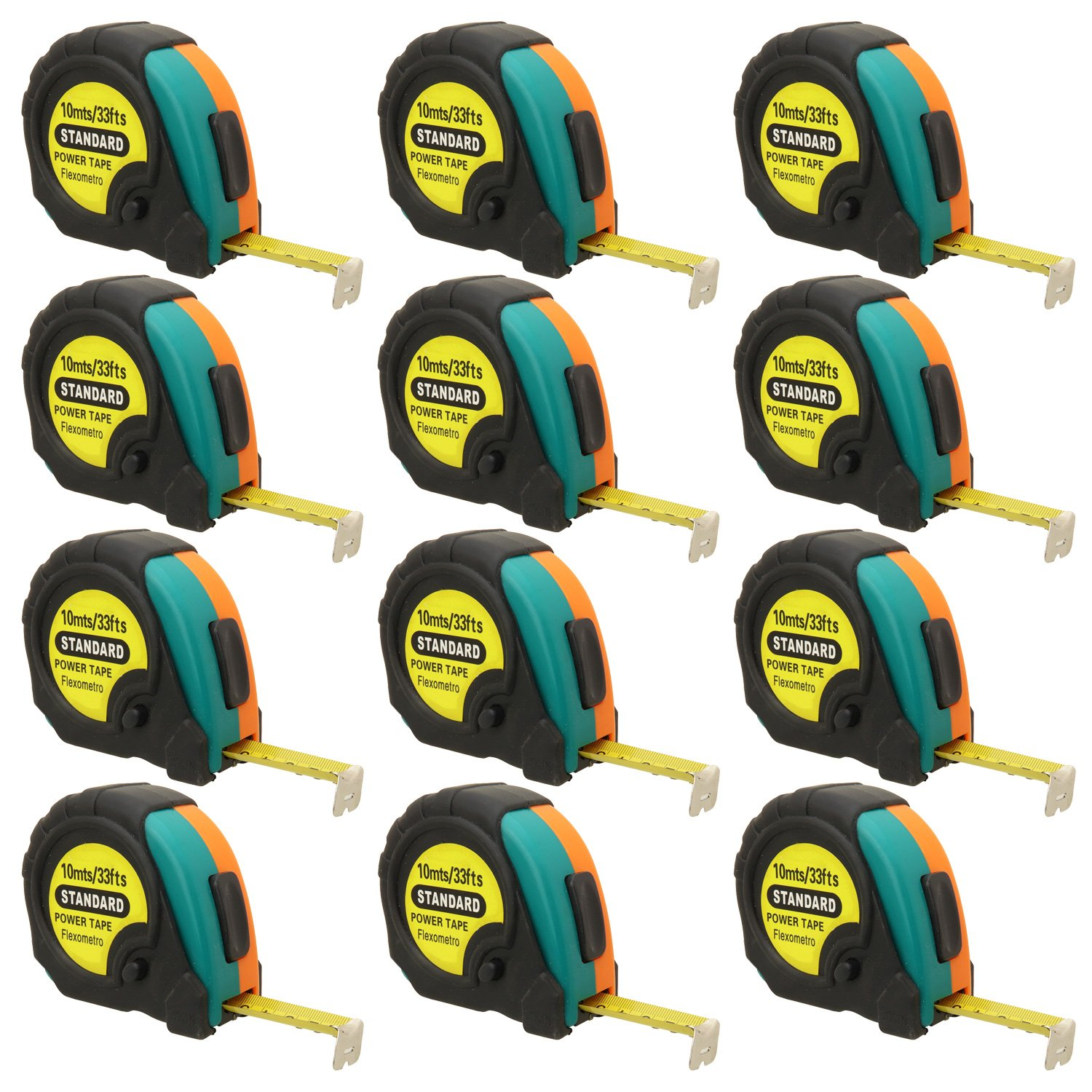 10ft, 25ft or 33ft Power Tape Measure Auto Lock (33-Foot (12-Pack))