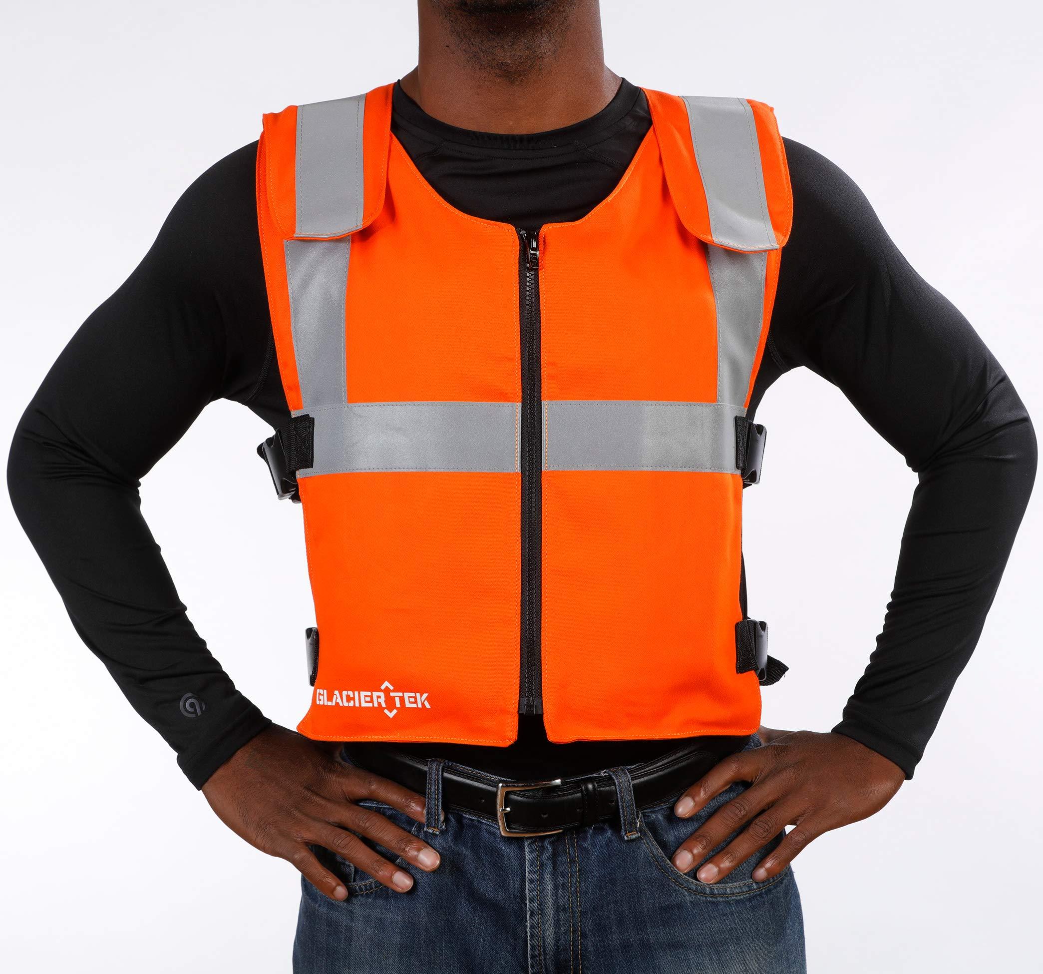 Glacier Tek Original Cool Vest with FR3 Flame-Retardant Banox Fabric and Nontoxic Cooling Packs Orange