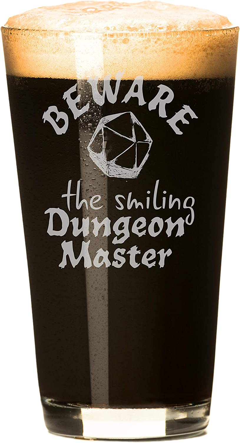 Beware the Smiling Dungeon Master - Dungeons and Dragons Beer Glasses - 2 Glasses