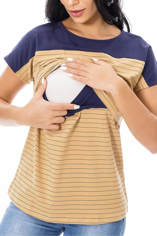 Smallshow Nursing Tops Short Sleeve Striped Lift-up Womens Breastfeeding Shirts
