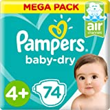 Pampers Baby-Dry Diapers, Size 4+, Maxi Plus, 10-15 kg, Mega Pack, 74 Count, 4015400406600