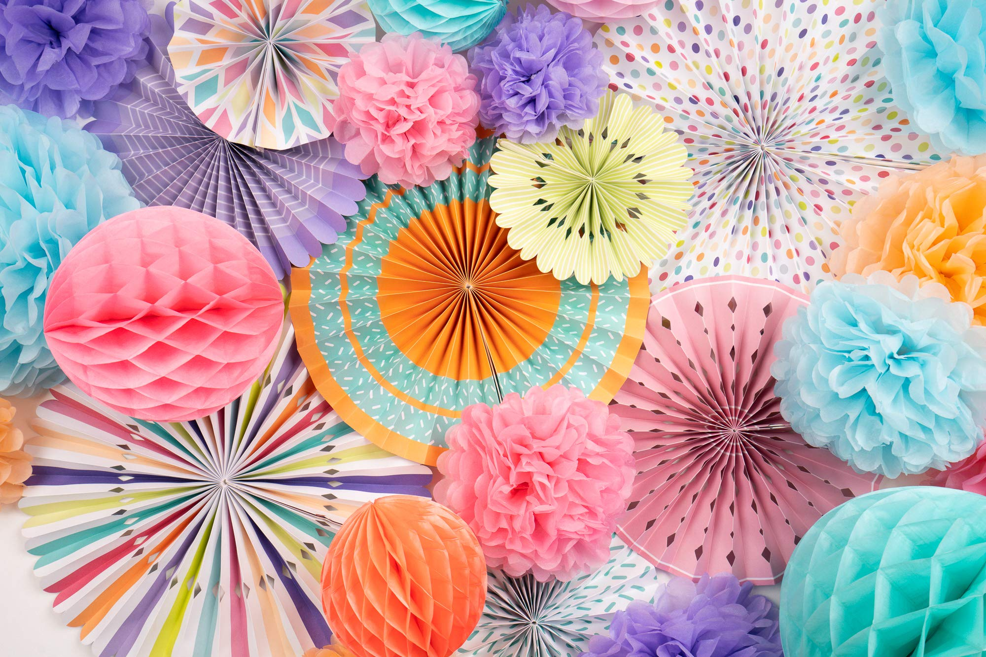 PapaKit Deluxe Origami Large Wall Decoration Set (26 Assorted Paper Fans & Pom-poms) Birthday Party Baby Shower Wedding Events Decor | Creative Art Design Pattern (Festive Colors, Deluxe 26 Piece Set) by PapaKit (Image #2)