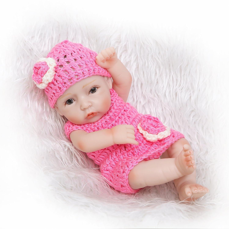 "icradle 10 "" 26 cm Mini CraftedフルボディソフトビニールRebornベビー人形&シリコンリアル赤ちゃん新生児Dolls解剖学的に正しいピンクガールズハンドメイドXmasギフト   B07BDCRPBZ"