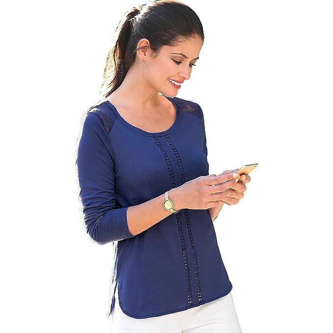 VENCA Camiseta canesú de blonda en los Hombros by Vencastyle ...